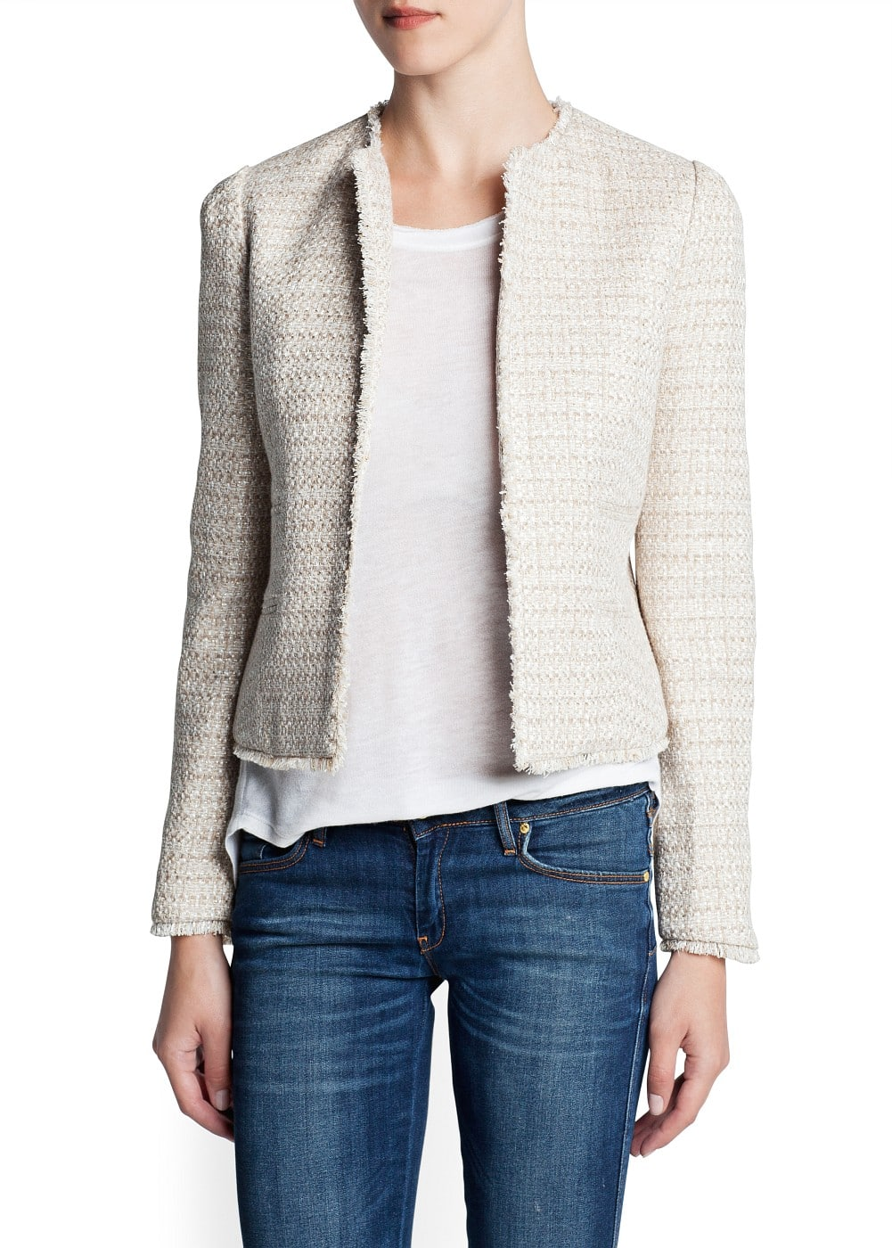 Frayed edge bouclé jacket