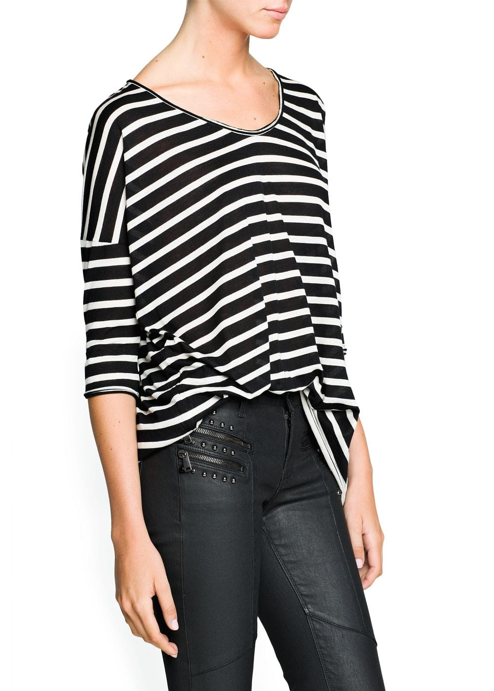 Striped modal-blend t-shirt | MANGO