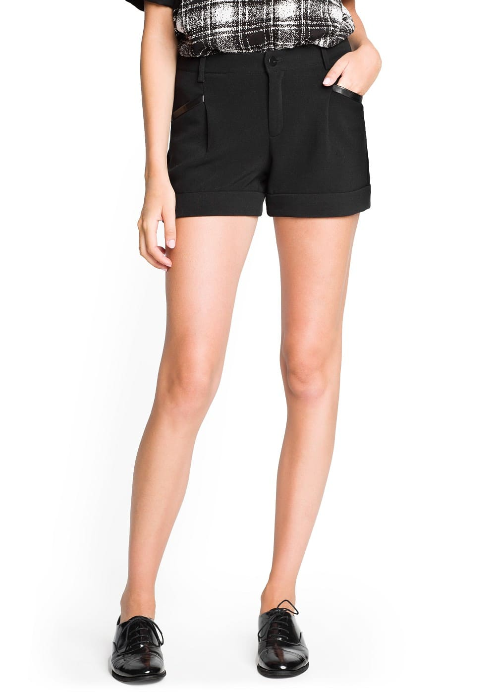 Faux leather appliqué shorts