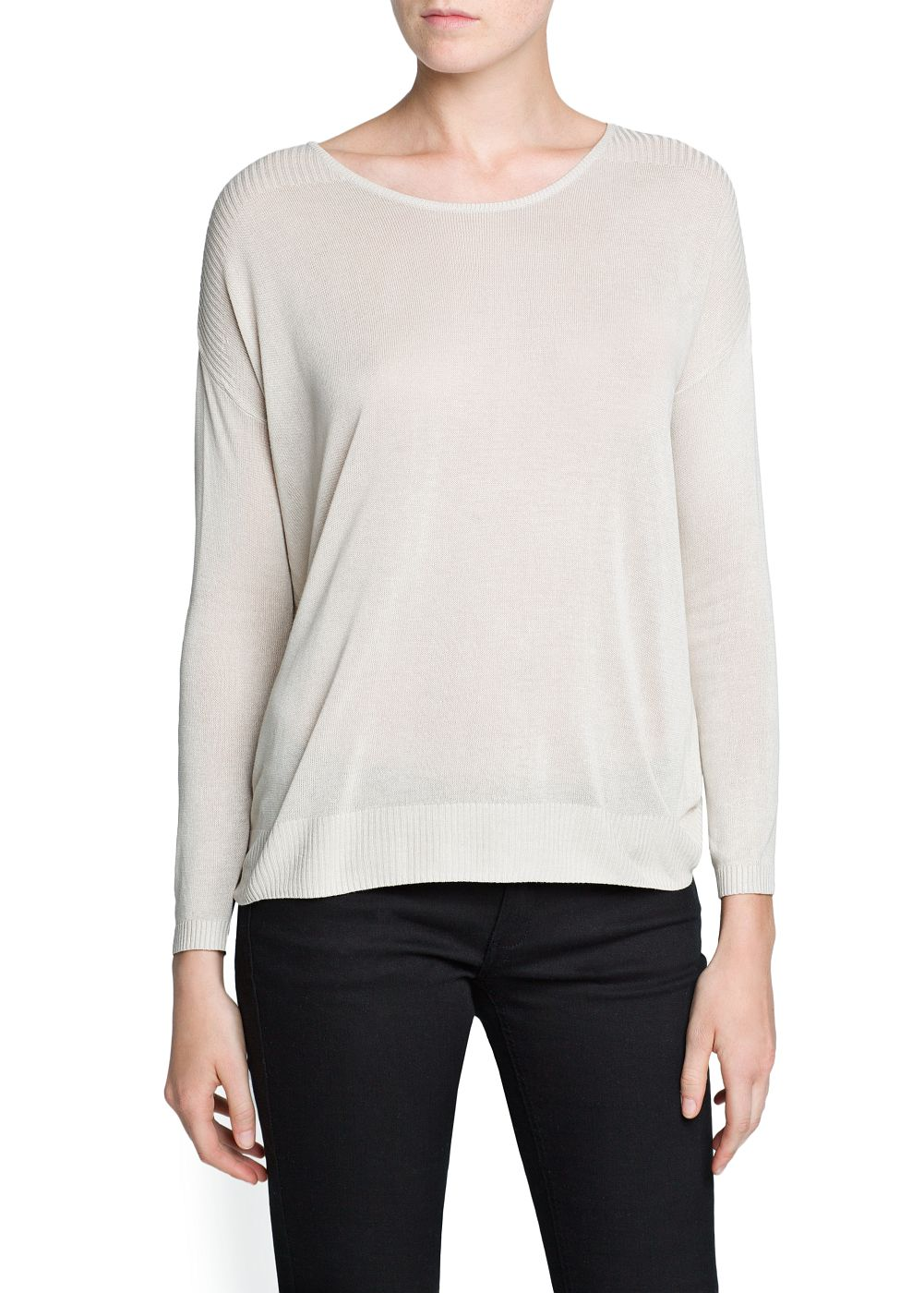 RIBBED SHOULDERS SWEATER