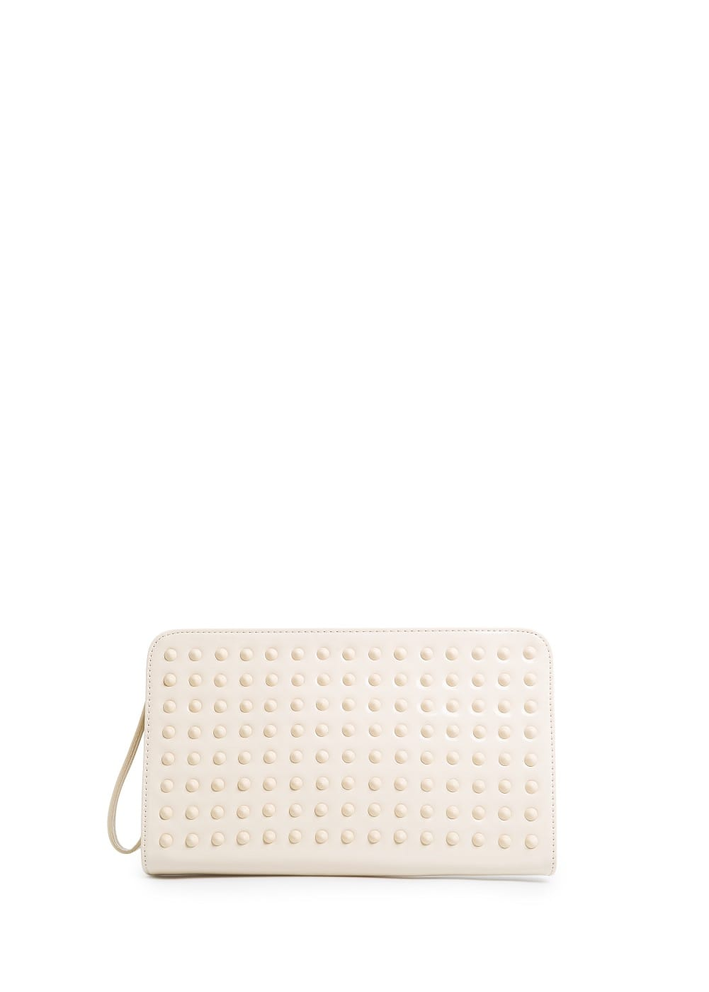 SHINY FINISH STUDDED CLUTCH