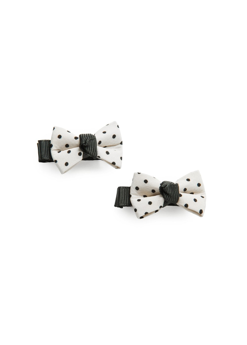 2 pack polka-dot bow hairclips