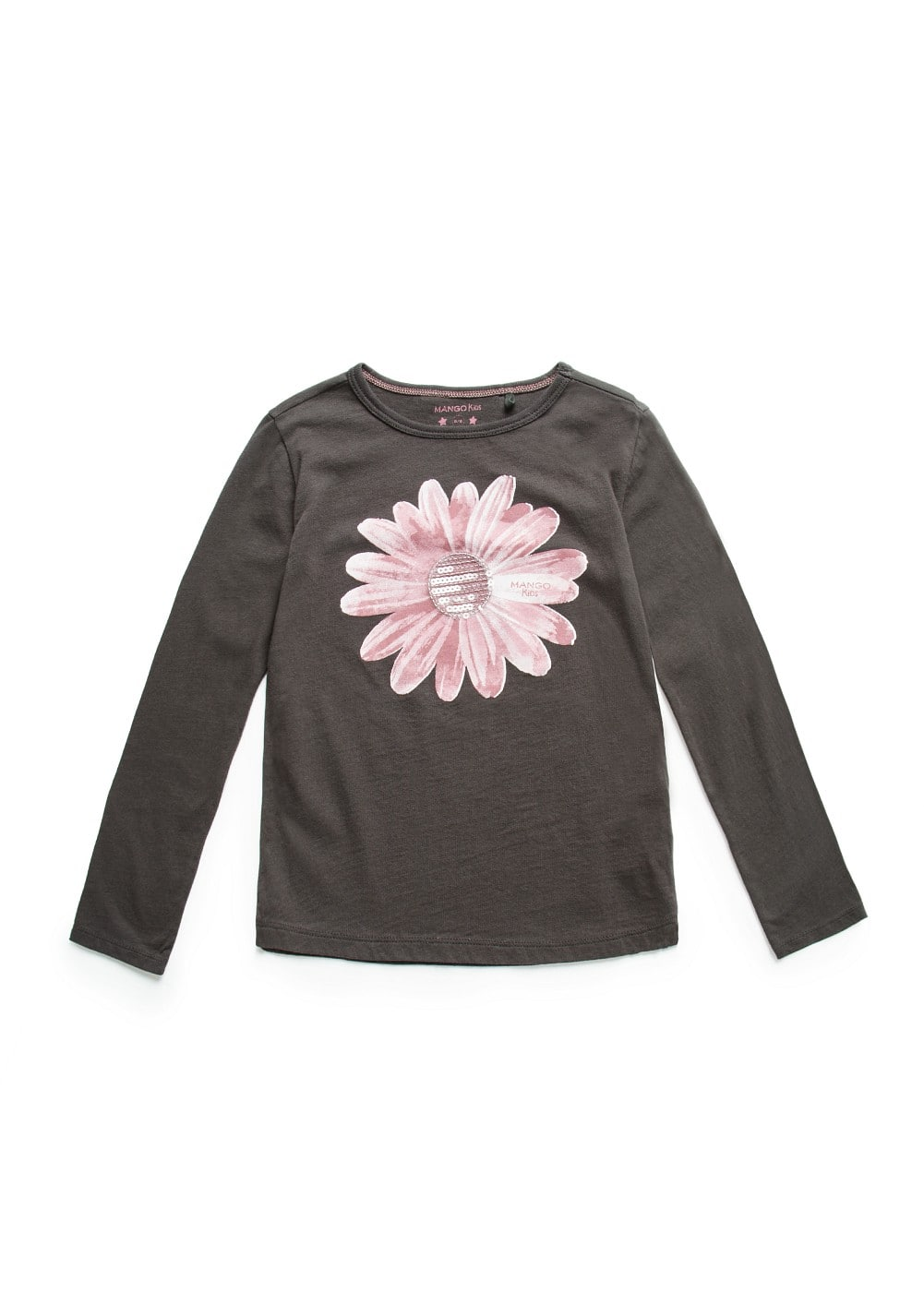 SEQUINED DETAIL FLOWER T-SHIRT