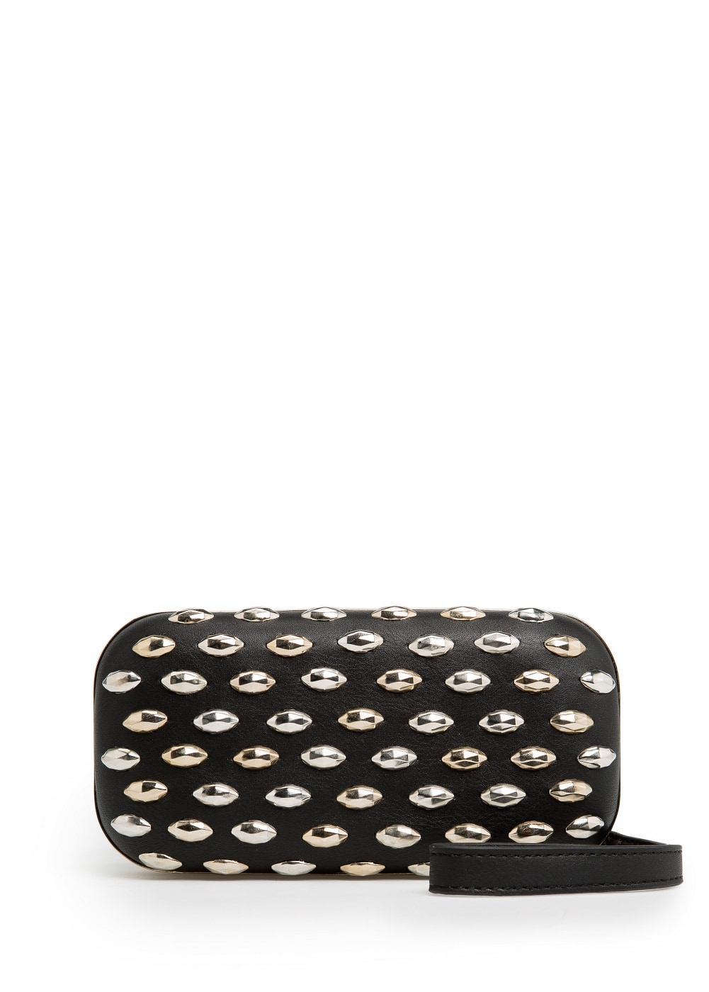 Metal appliqué box clutch