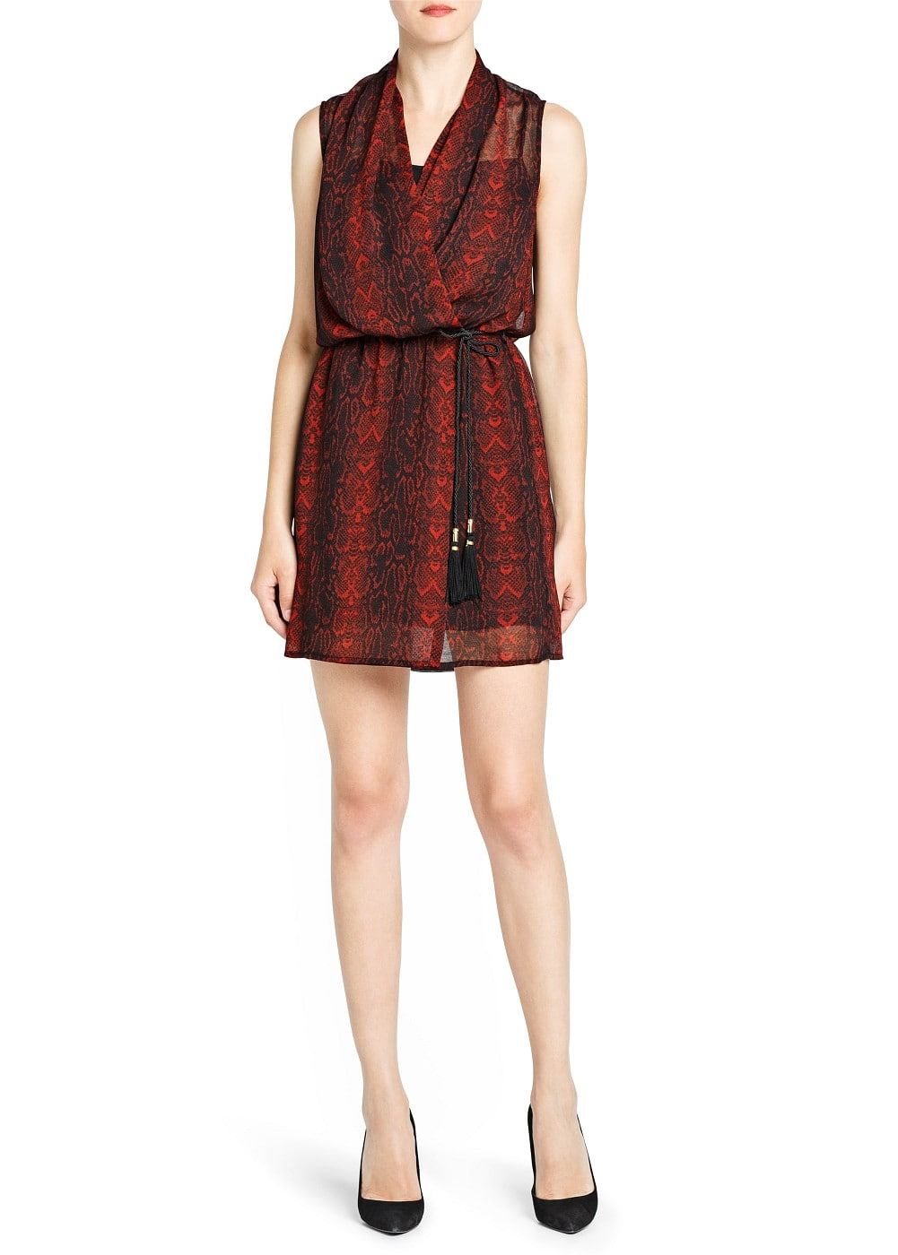 Snake print chiffon dress