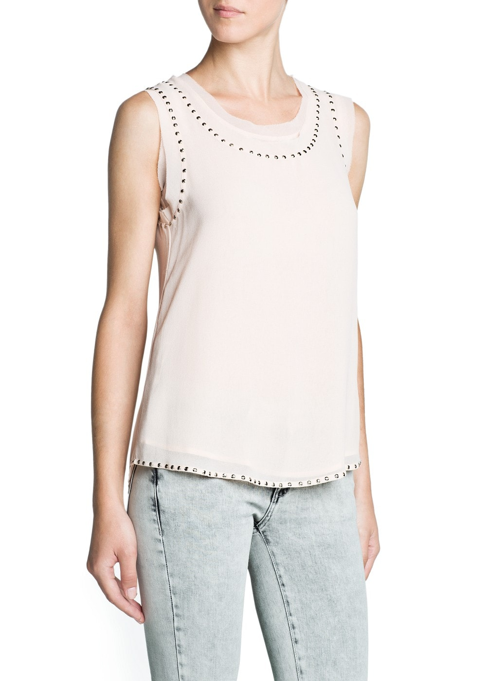 Beaded chiffon top | MANGO