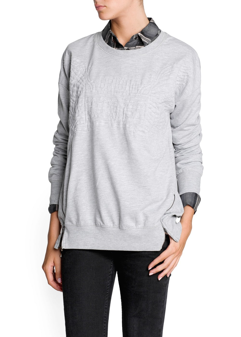 Zipped side quilted sweatshirt