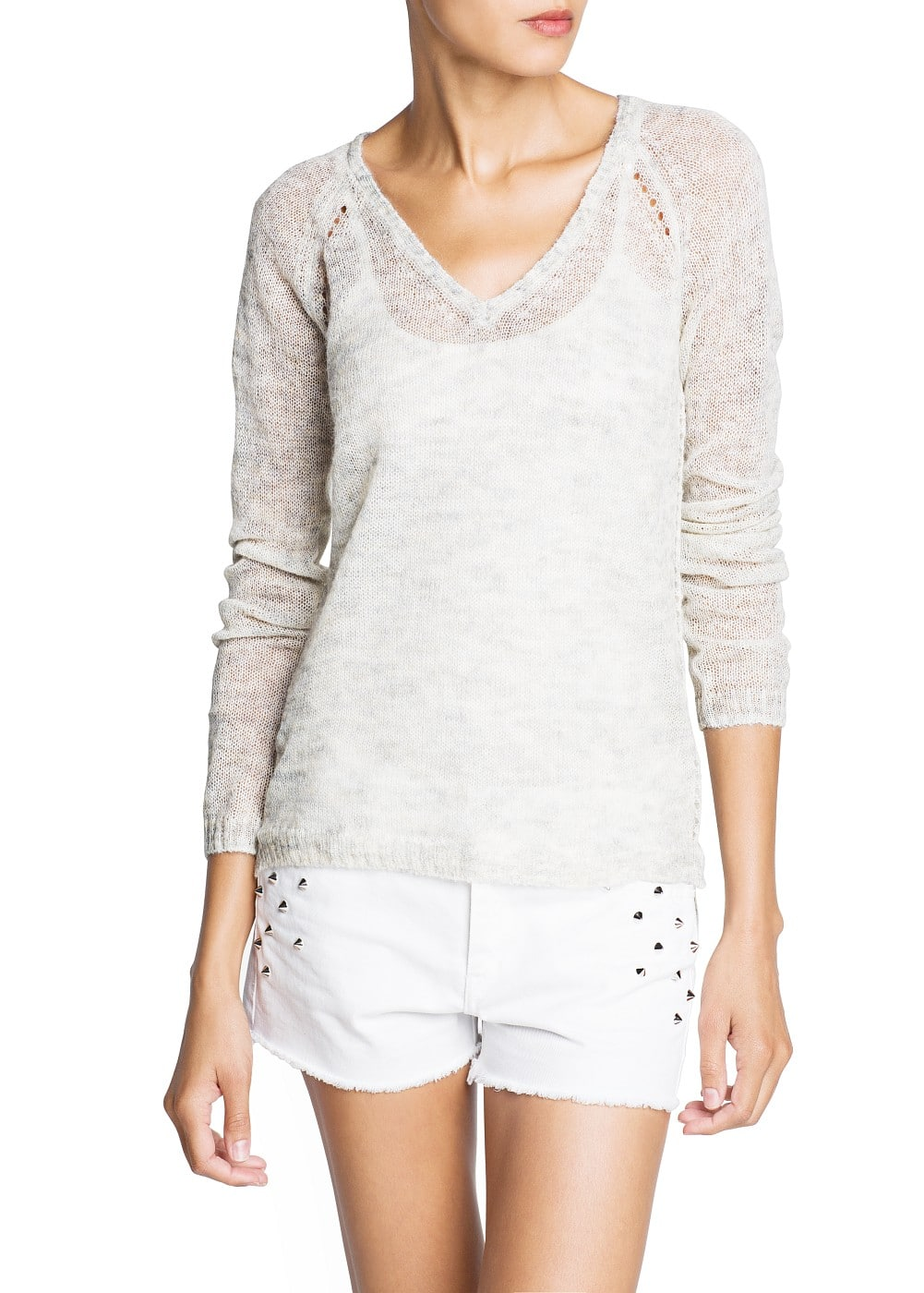 Mohair-blend openwork knit sweater | MANGO