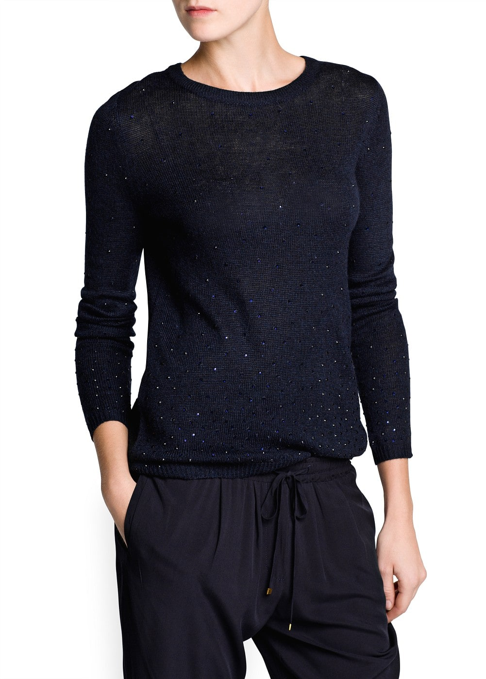 Rhinestone wool-blend sweater | MANGO