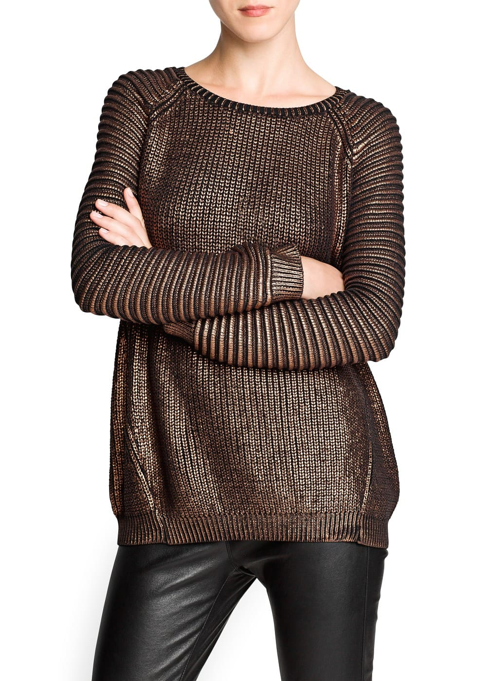 Jacquard sleeve metallic sweater