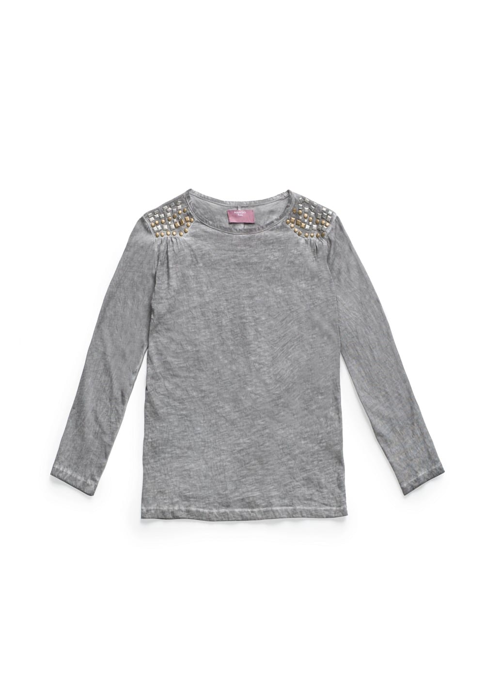 Washed cotton studded t-shirt | MANGO KIDS