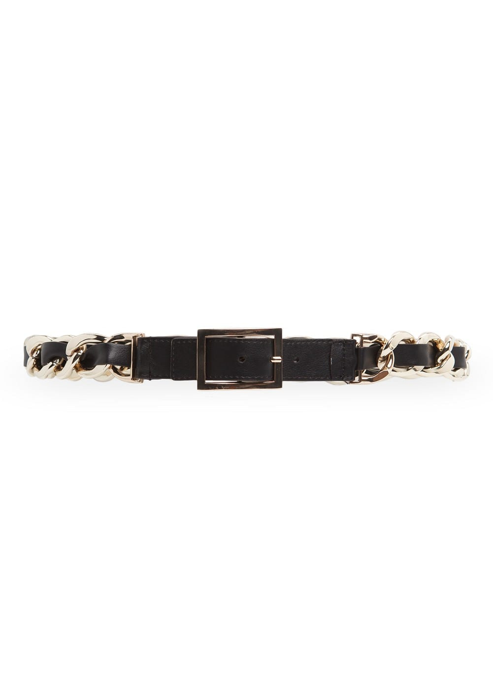 Chain link faux leather belt