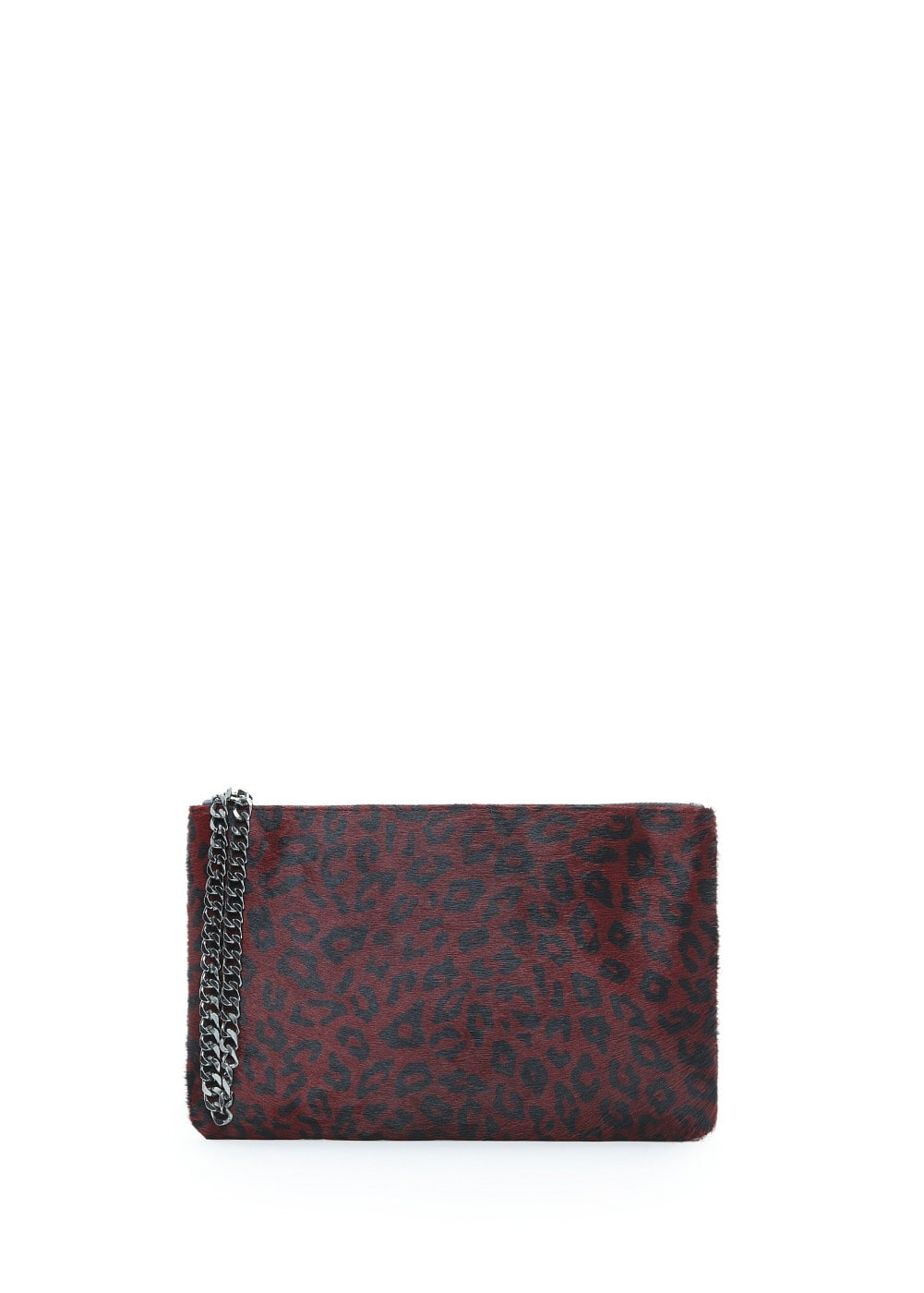 Faux fur appliqué leather clutch