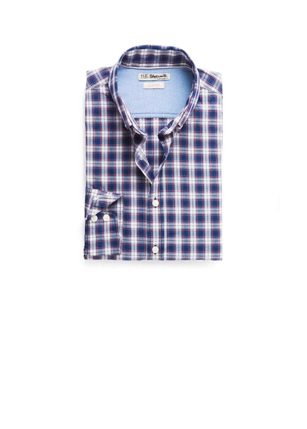 Check slim-fit shirt | MANGO MAN