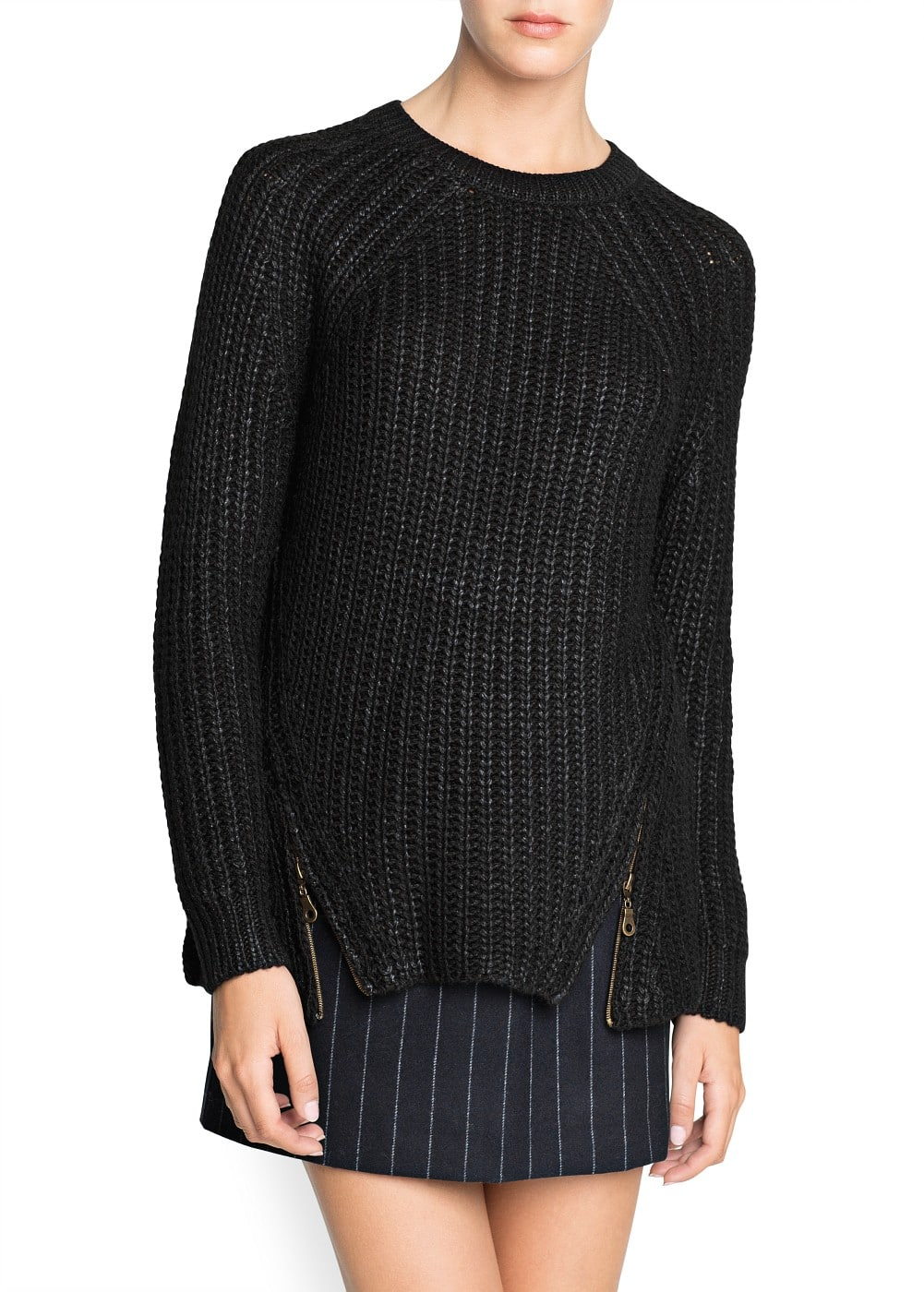 Zip chunky knit sweater