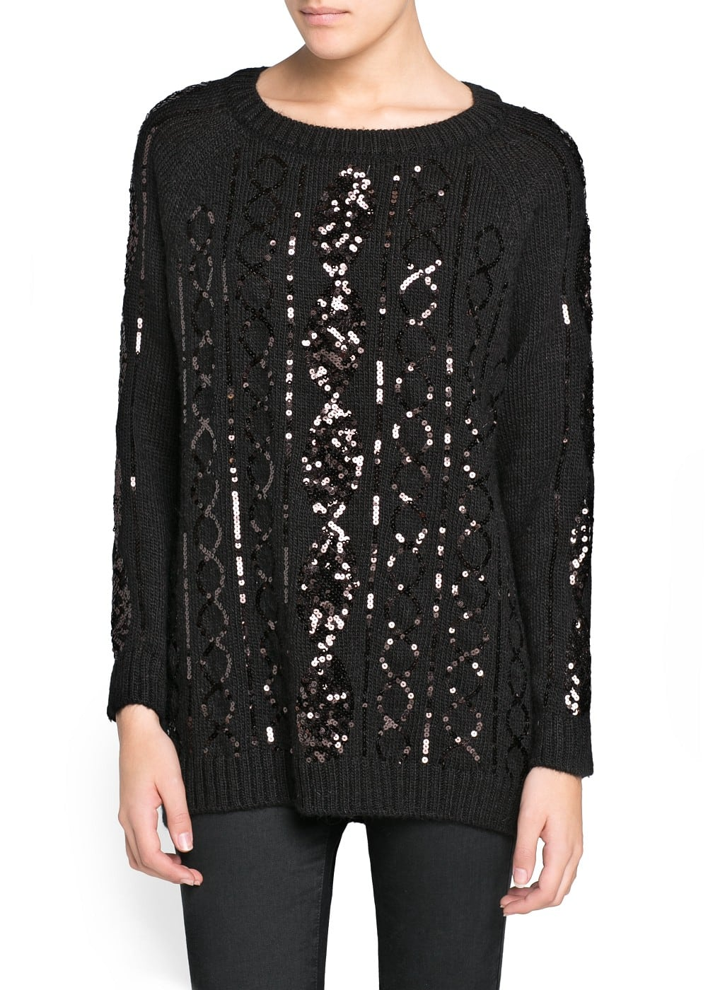 Sequined cable-knit wool-blend sweater | MANGO
