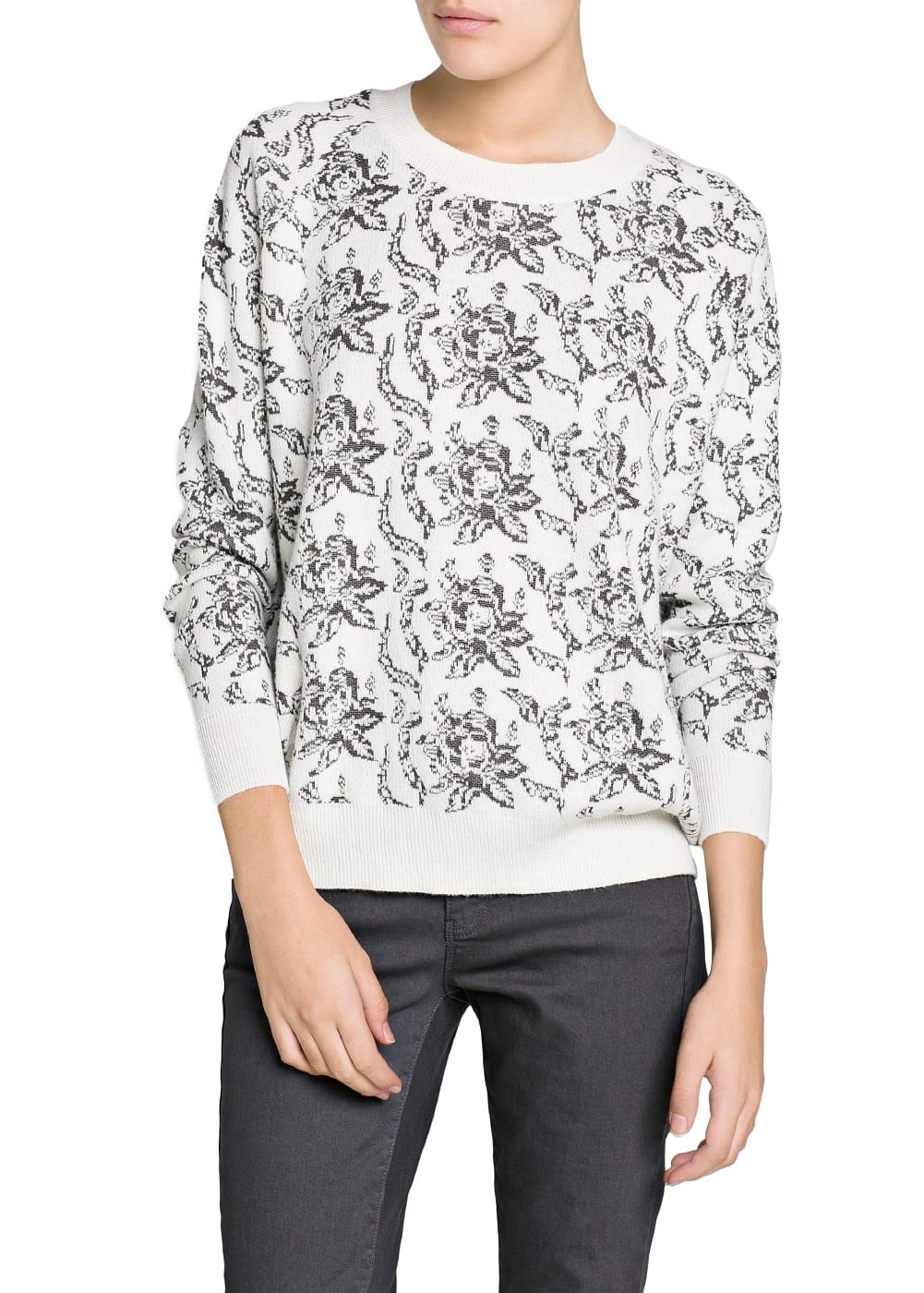Floral jacquard sweater