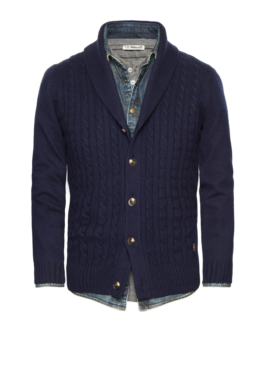 Premium cable-knit wool cardigan