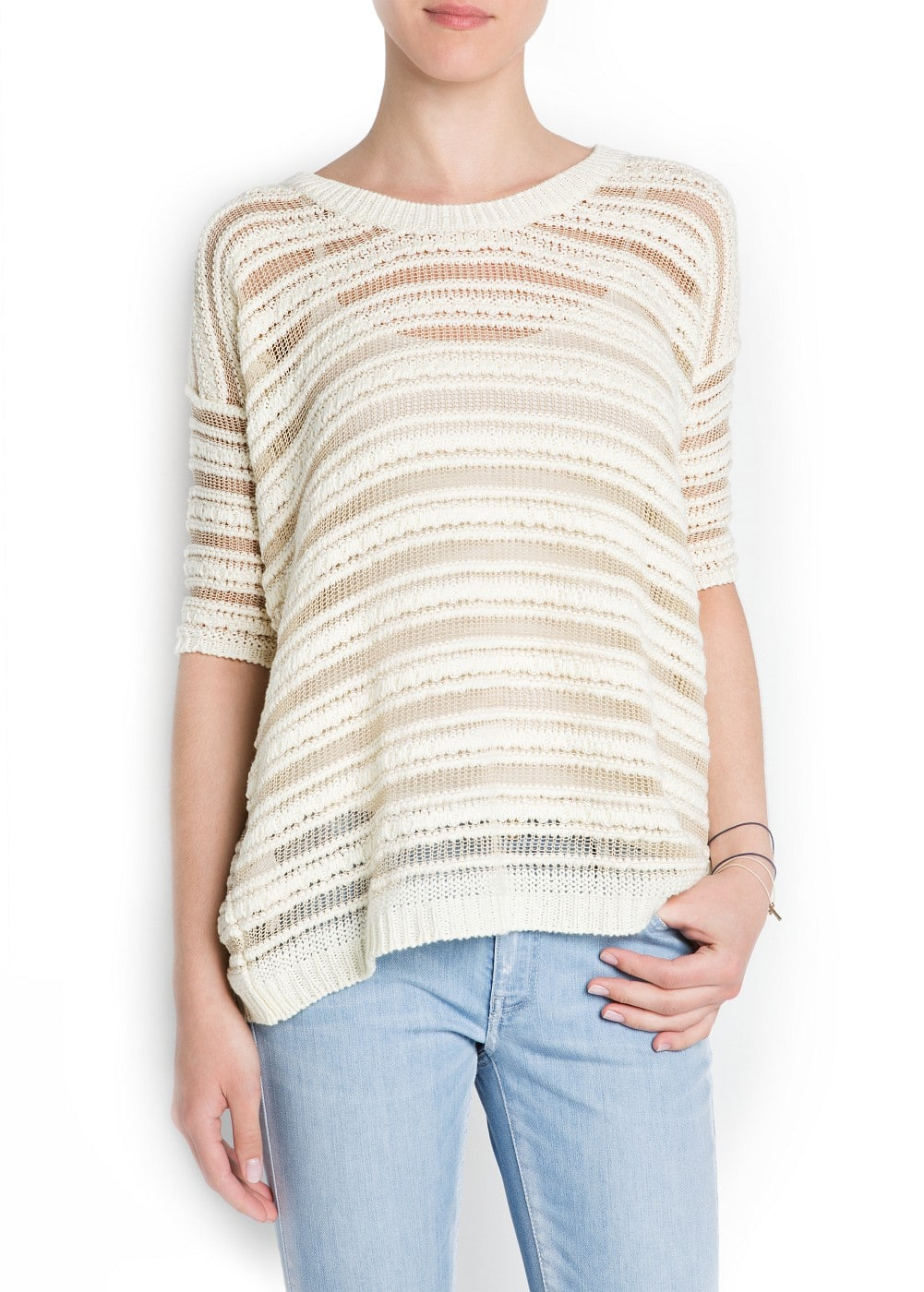 STRIPED OPEN-WORK SWEATER