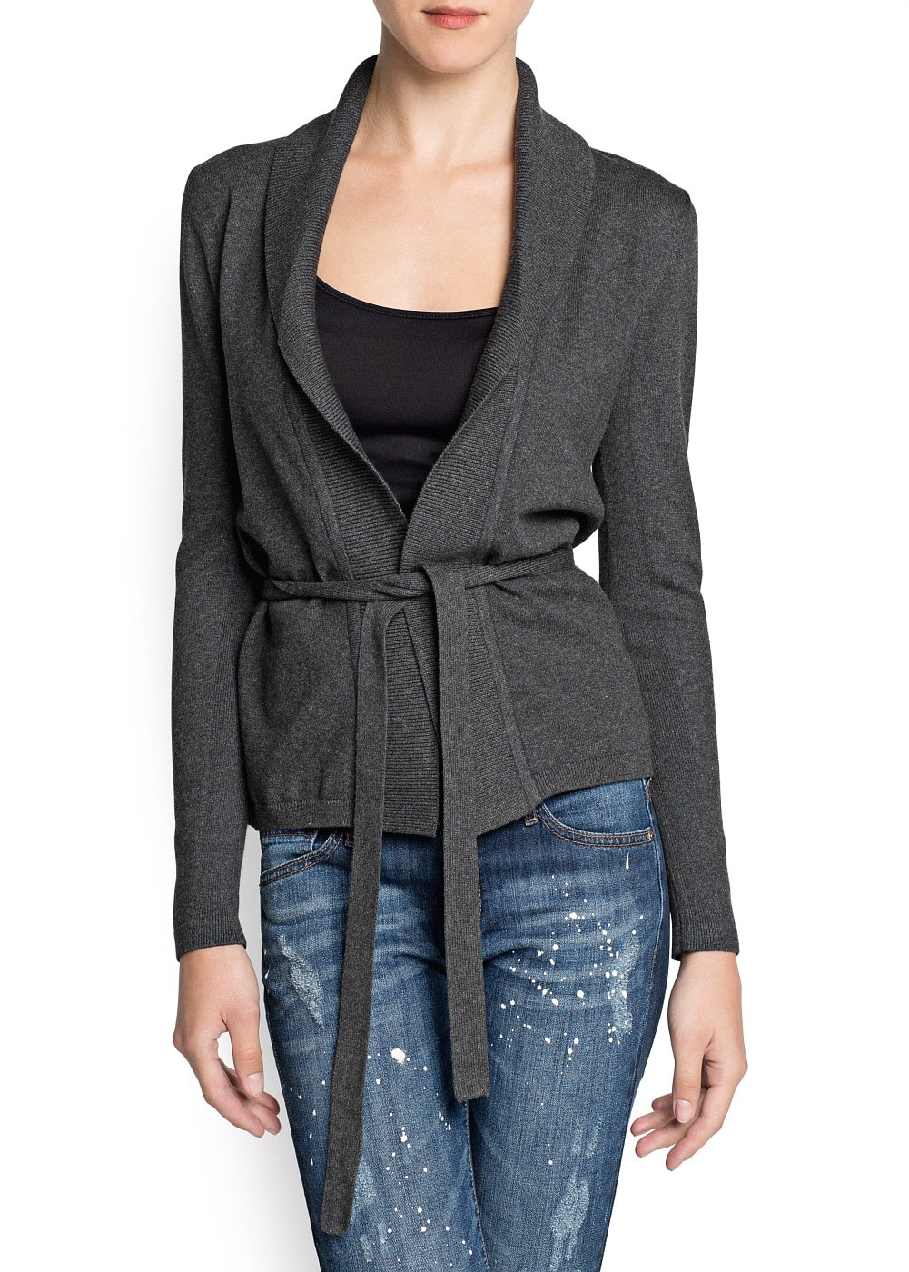 Ribbed lapel bow cardigan
