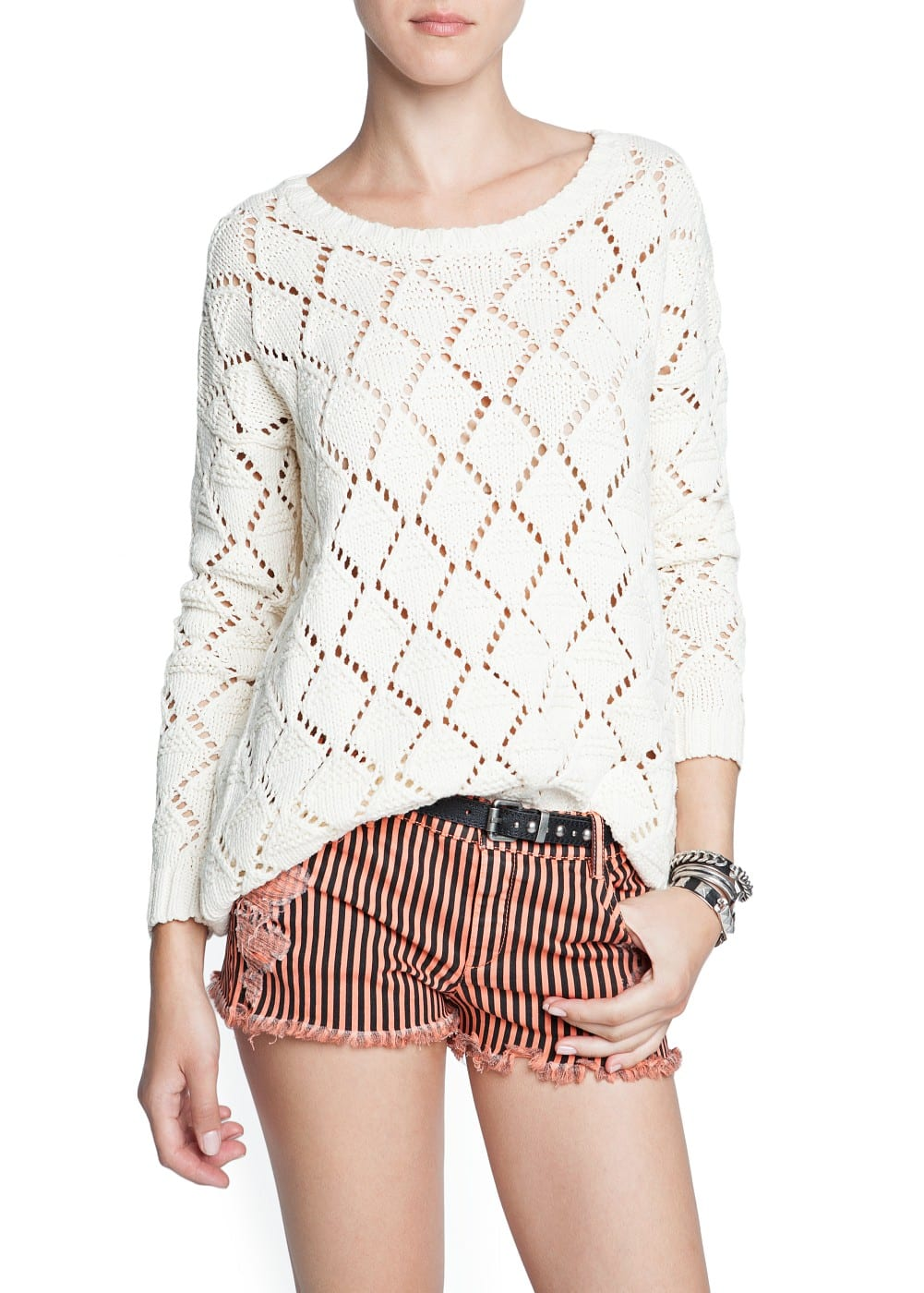 Open knit sweater | MANGO