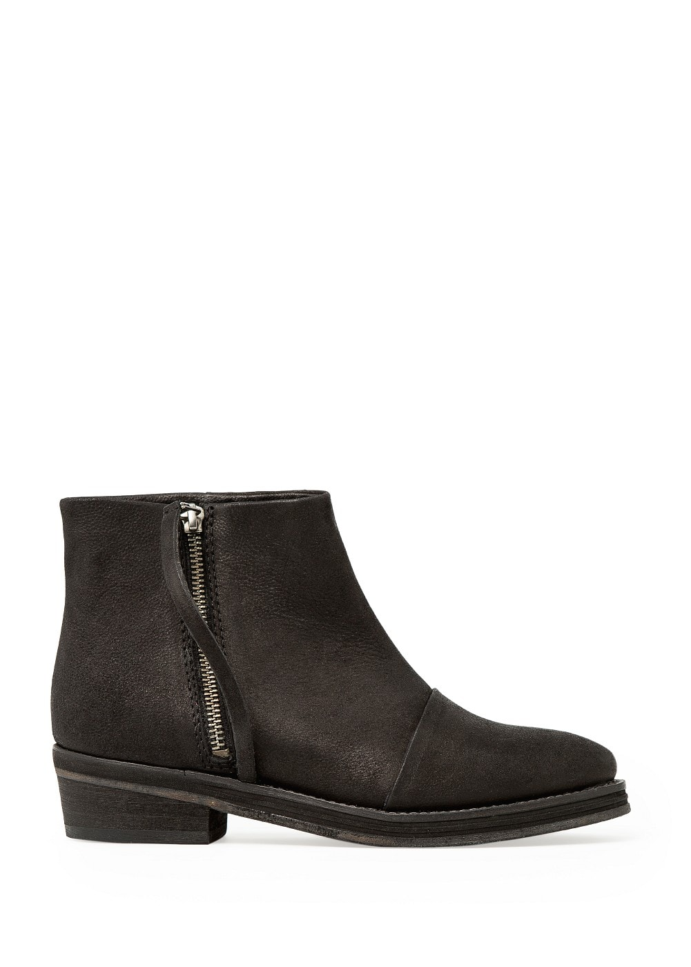 ZIP LEATHER ANKLE BOOTS