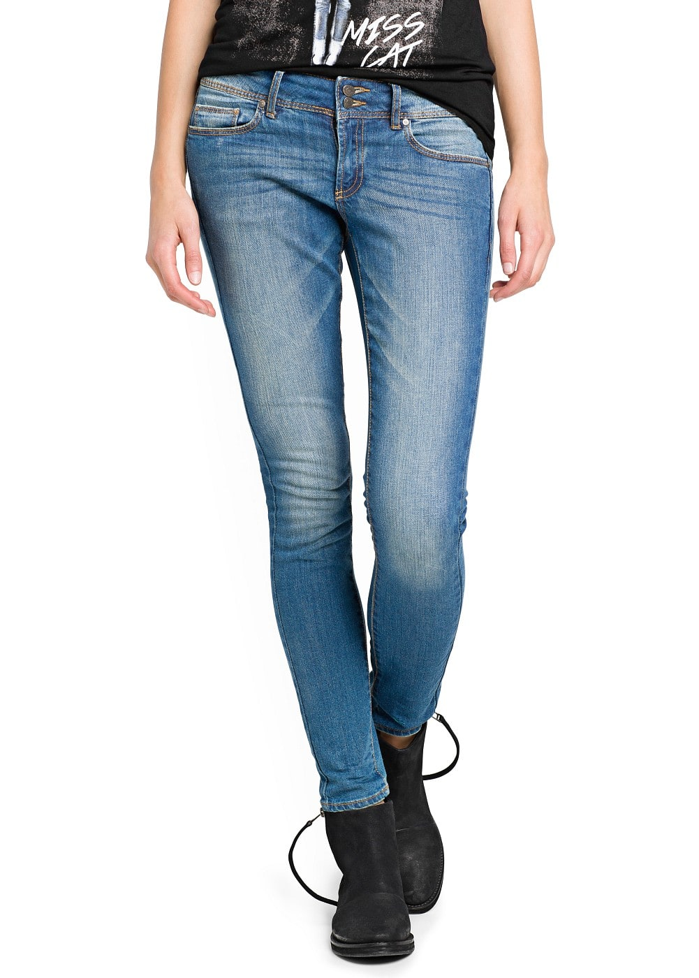 Slim-fit medium wash lizzy jeans | MANGO