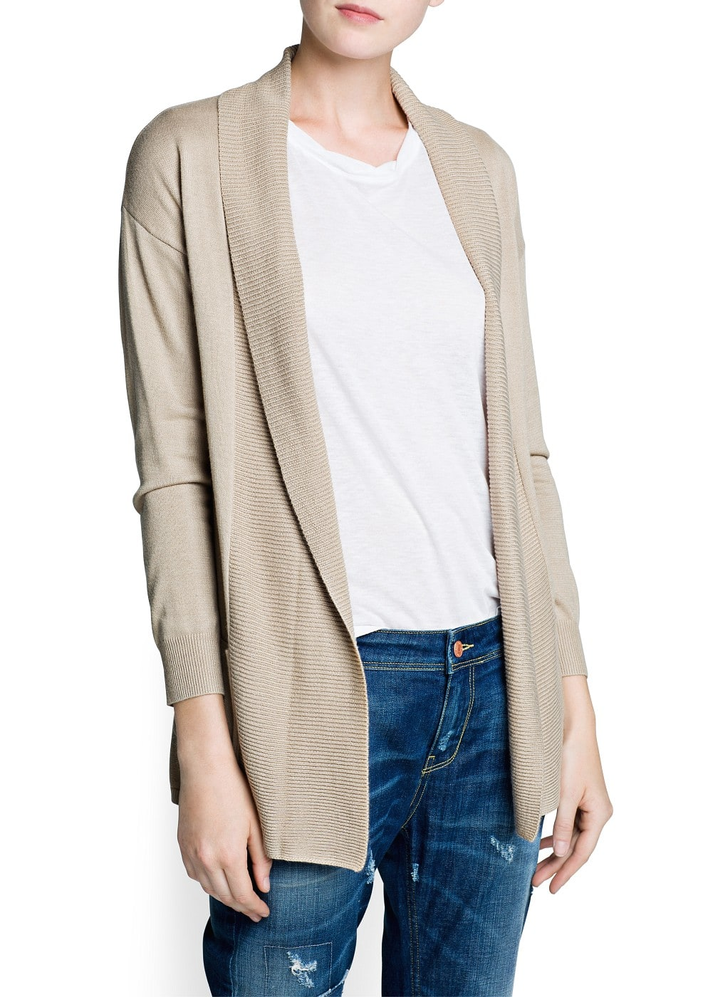 Ribbed flap cardigan | MANGO