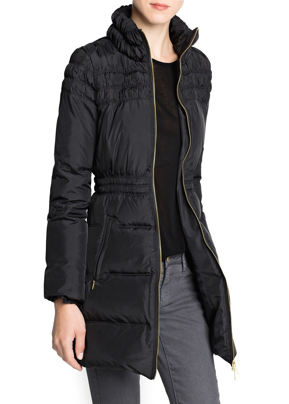 Ruched detail feather down coat