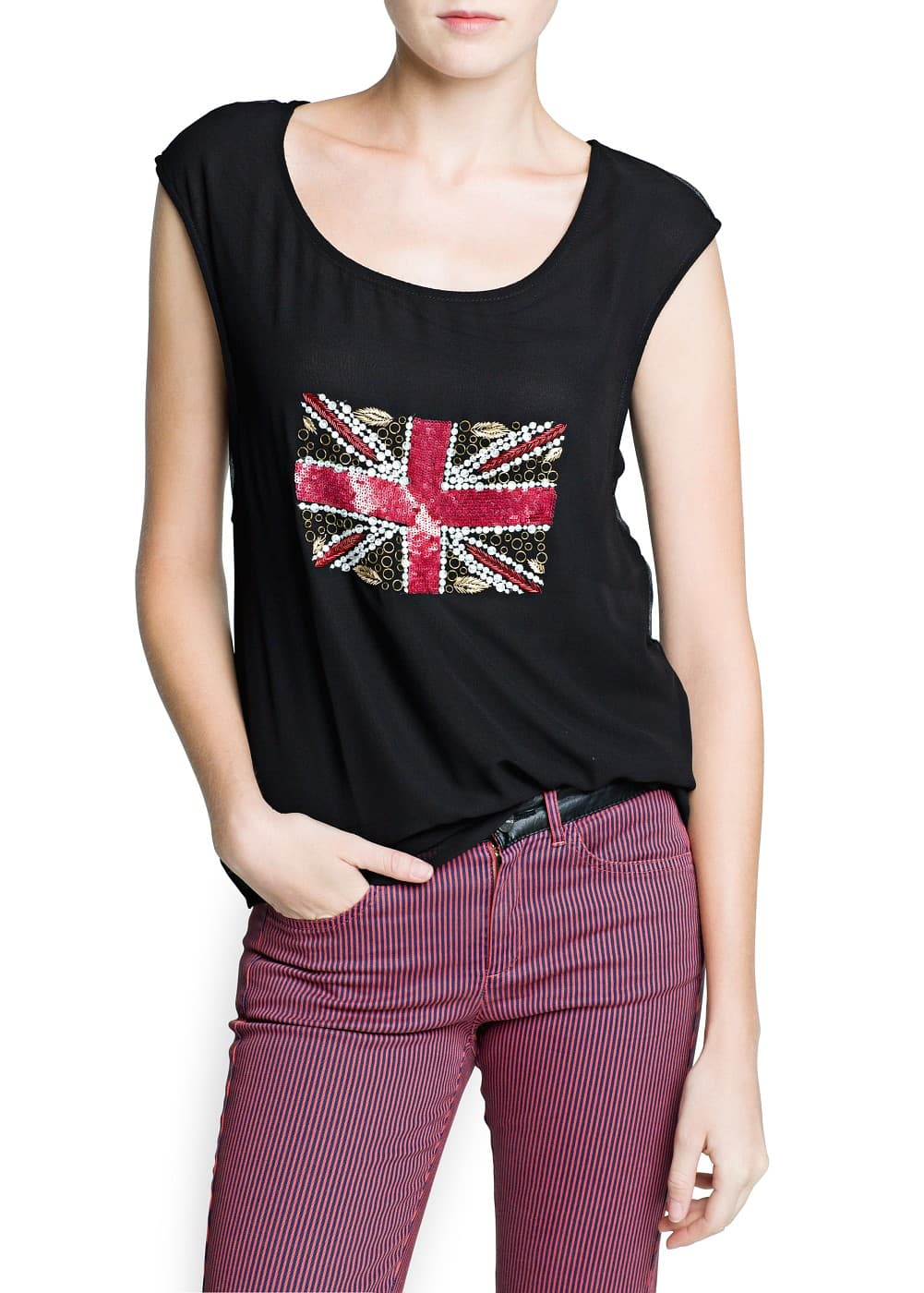 Beaded flag chiffon blouse