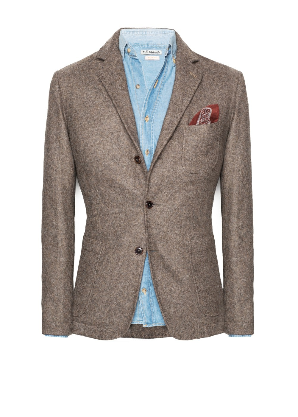 Leather patch wool-blend blazer