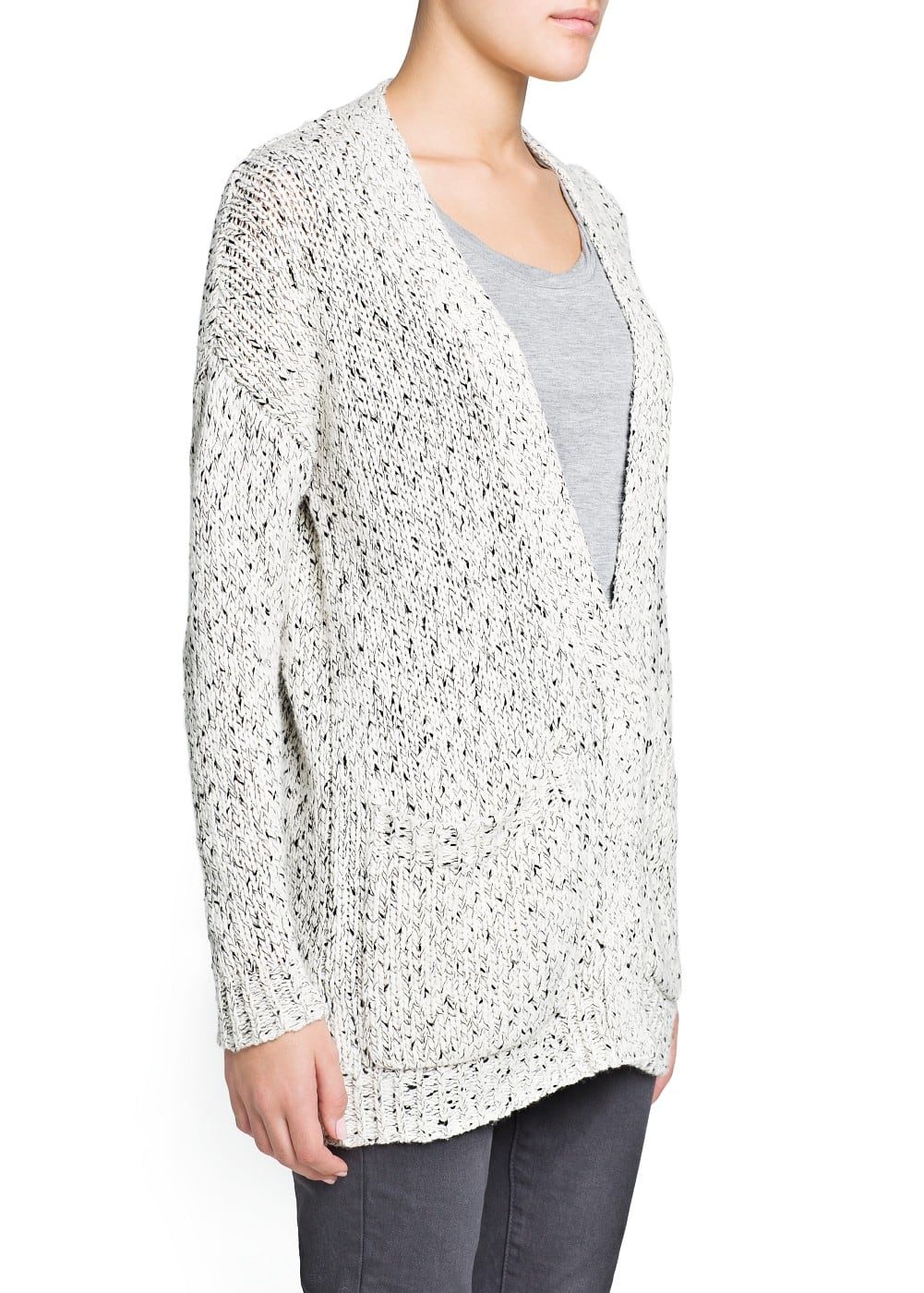 Wool cotton-blend flecked cardigan