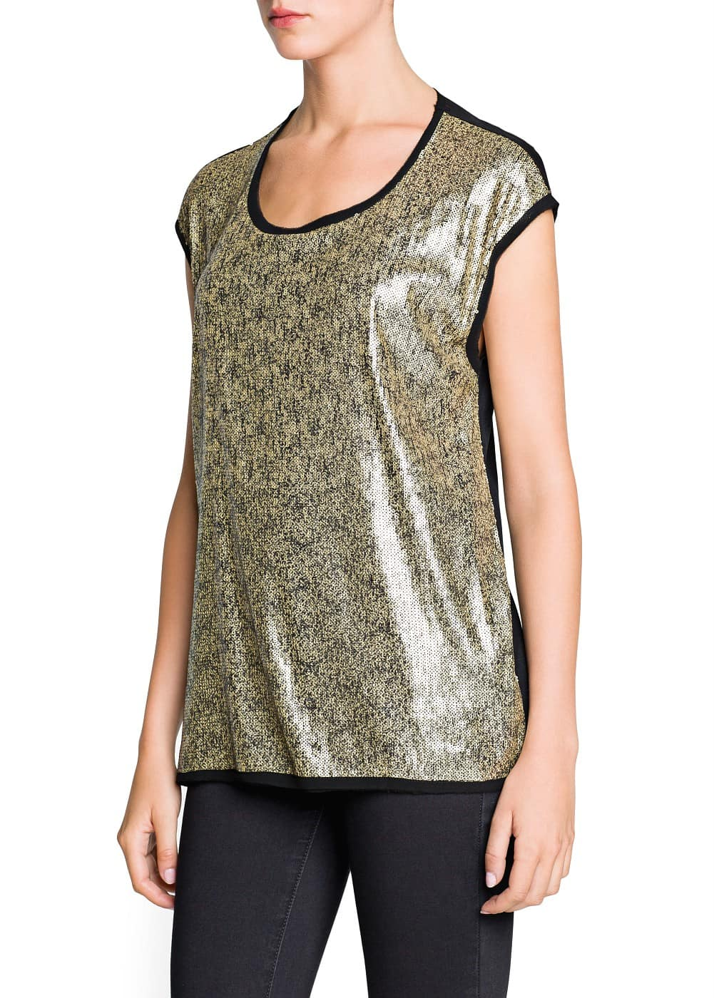 Raw-edge sequin t-shirt | MANGO