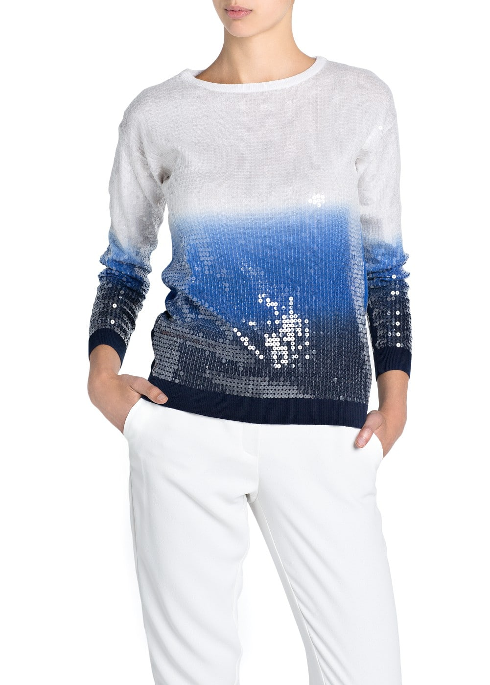 Ombré sequined sweater