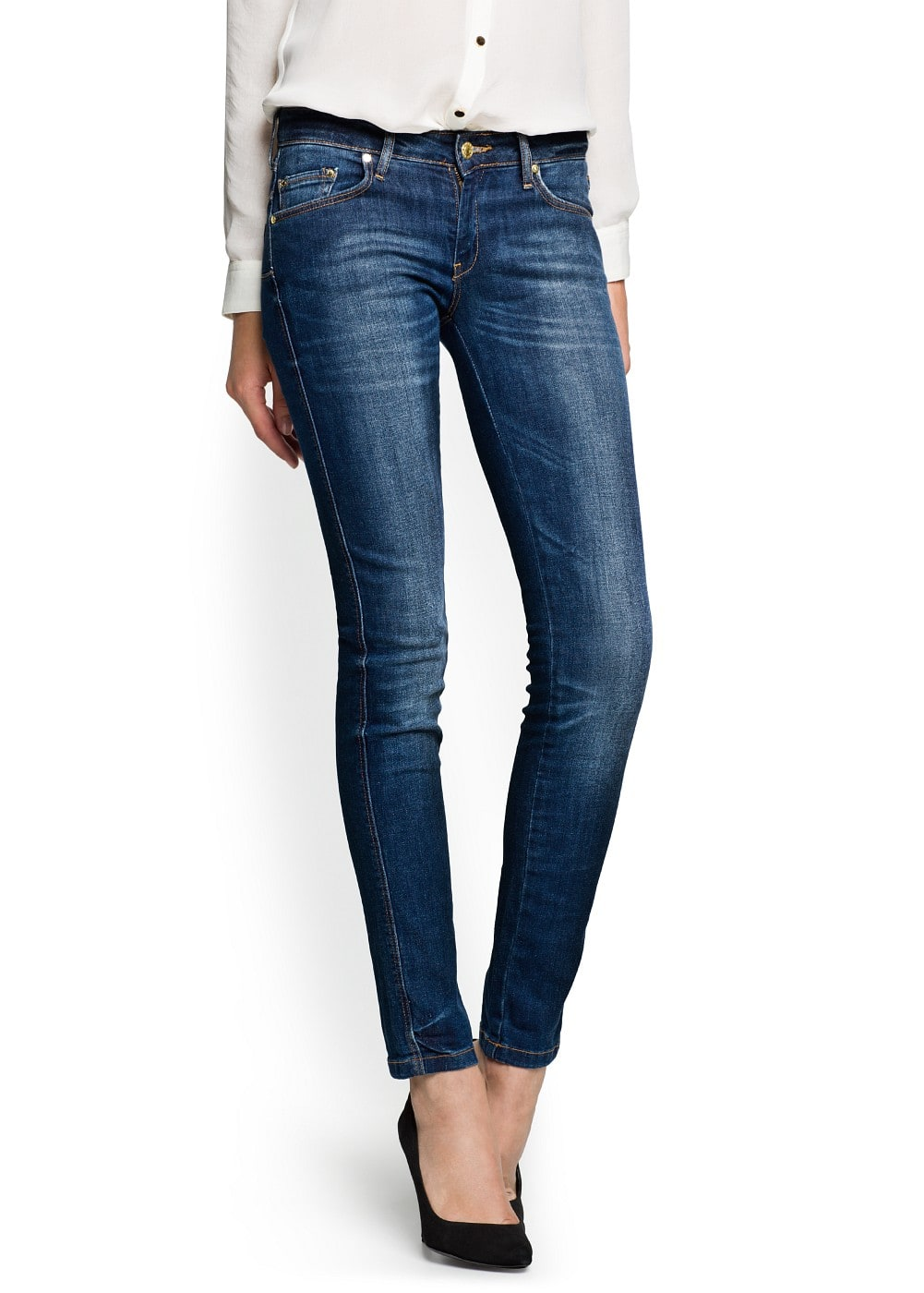 Slim-fit push-up dark wash jeans | MANGO