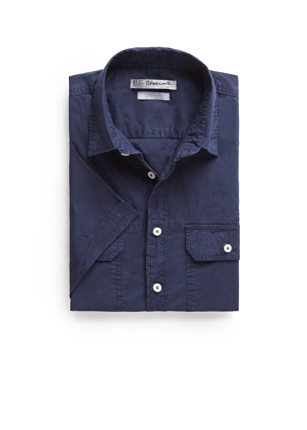 Slim-fit short sleeve poplin shirt