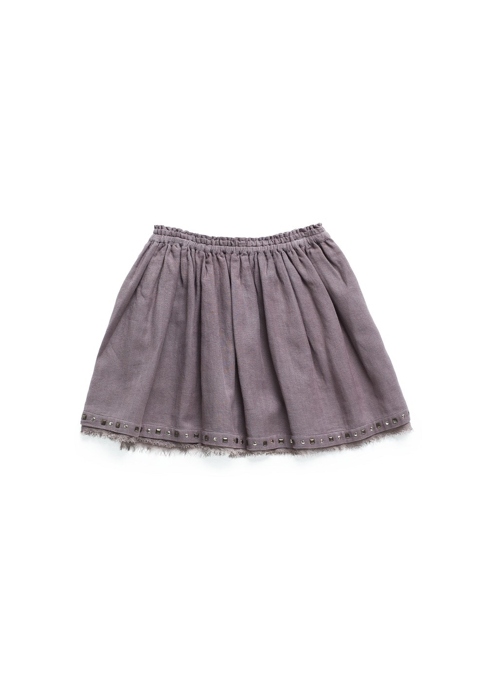 STUDDED FLARED COTTON SKIRT