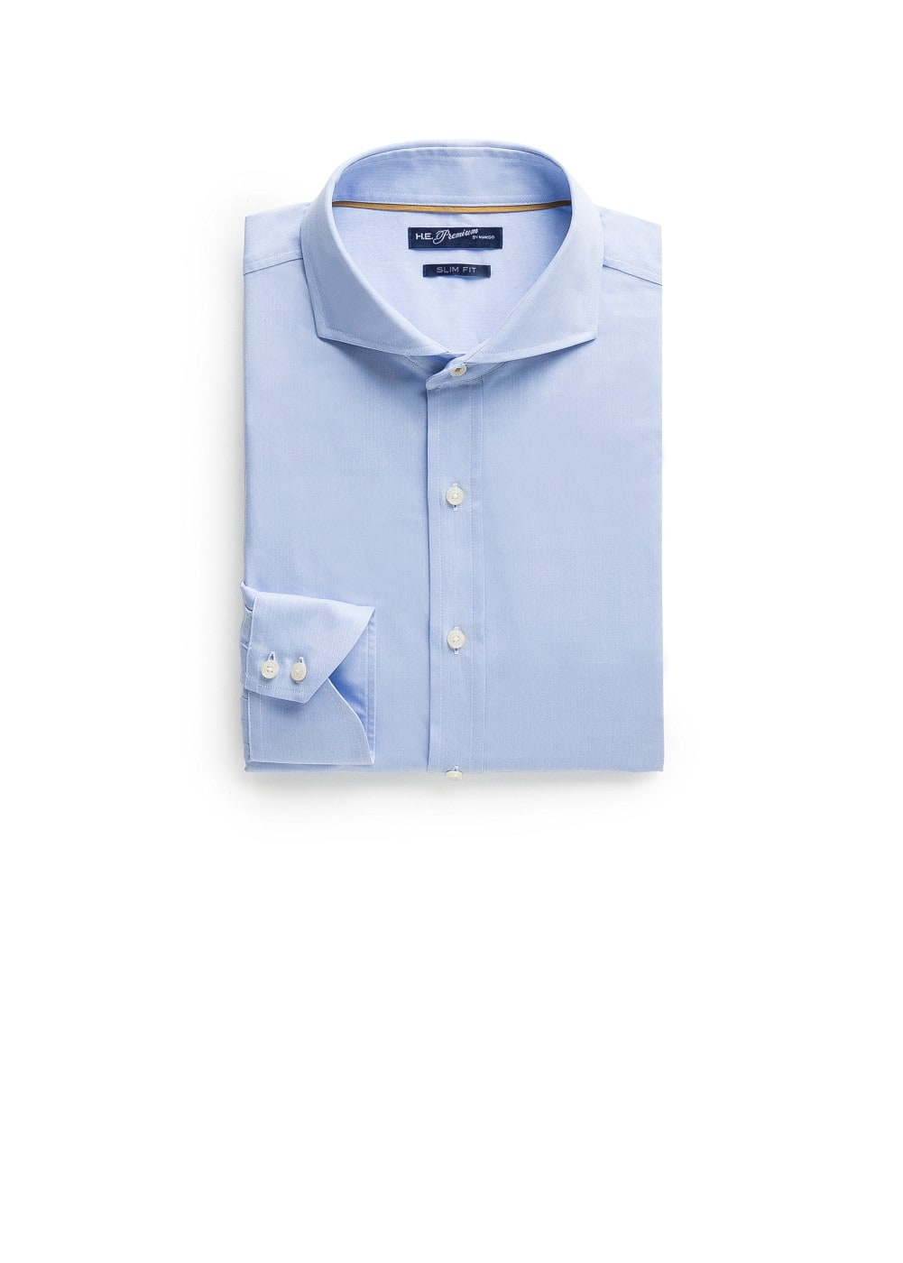 Slim-fit premium herringbone cotton shirt | MANGO MAN