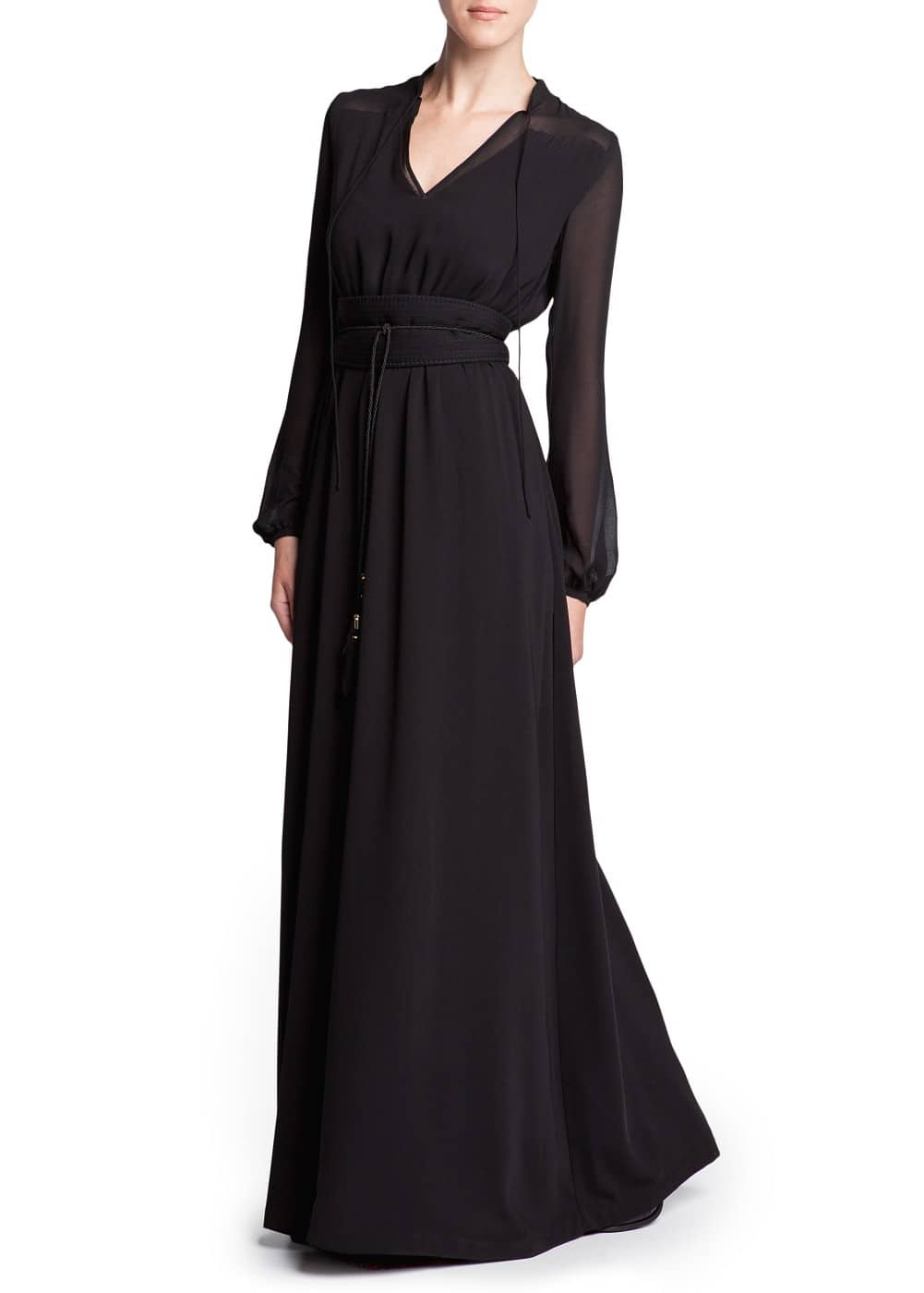Chiffon panel long dress