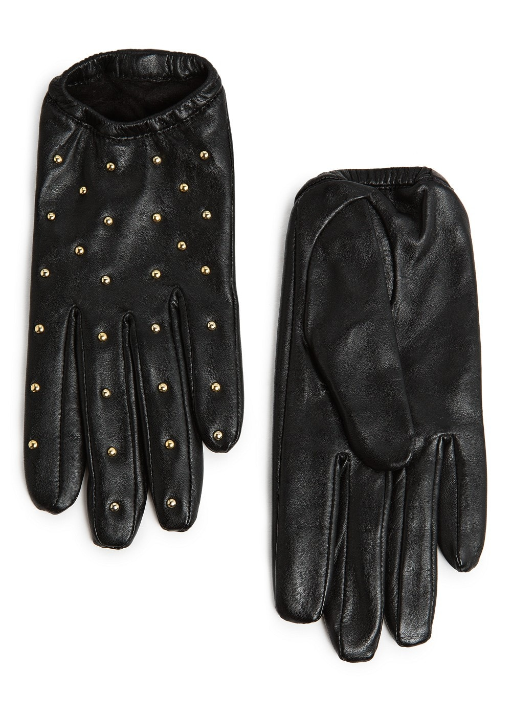 STUDDED SHORT LEATHER GLOVES