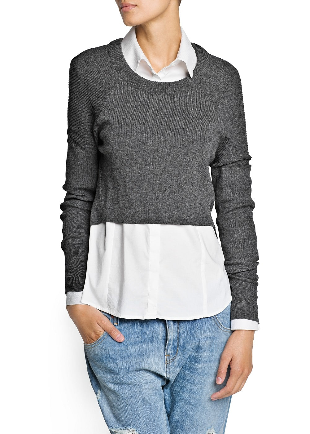 Ribbed shoulder cropped sweater