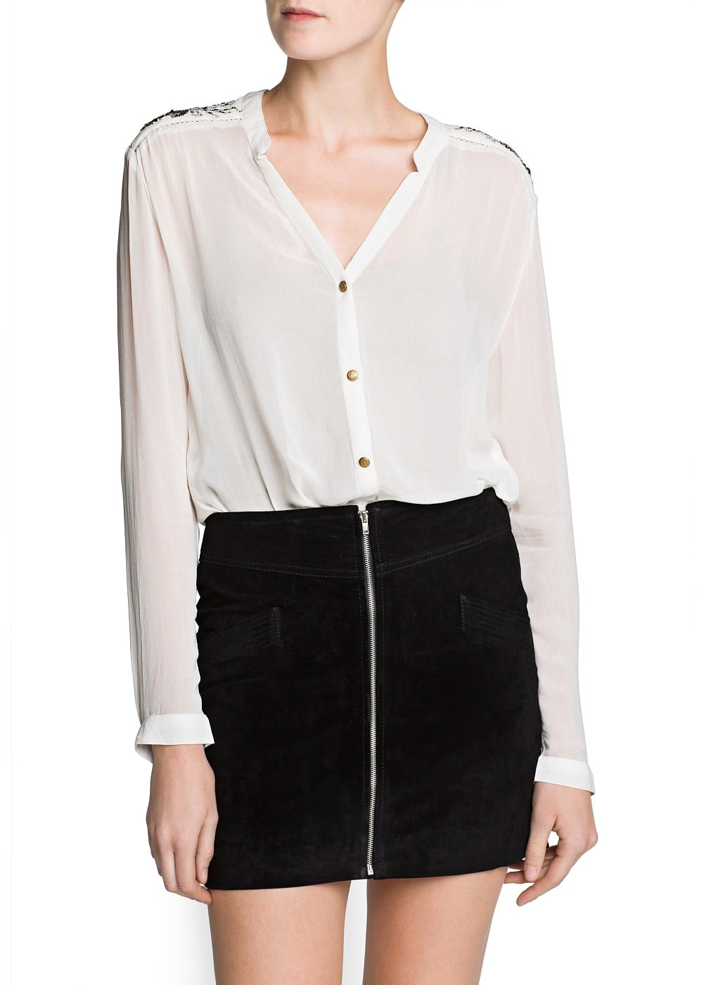 Embellished shoulder chiffon shirt