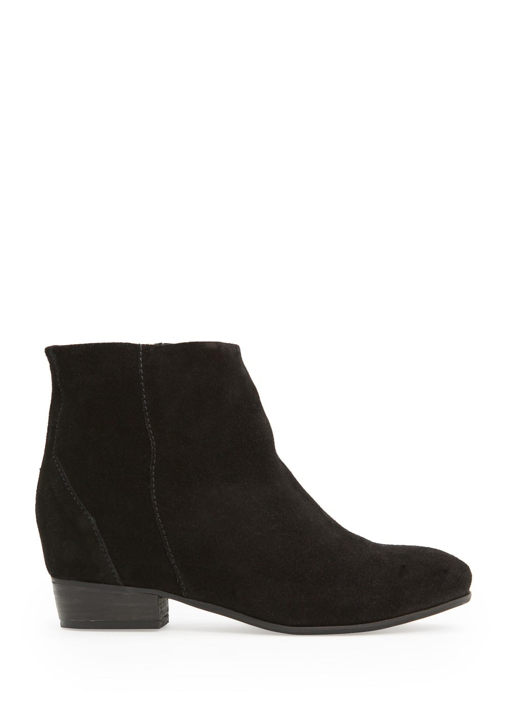 Zipper suede ankle boots