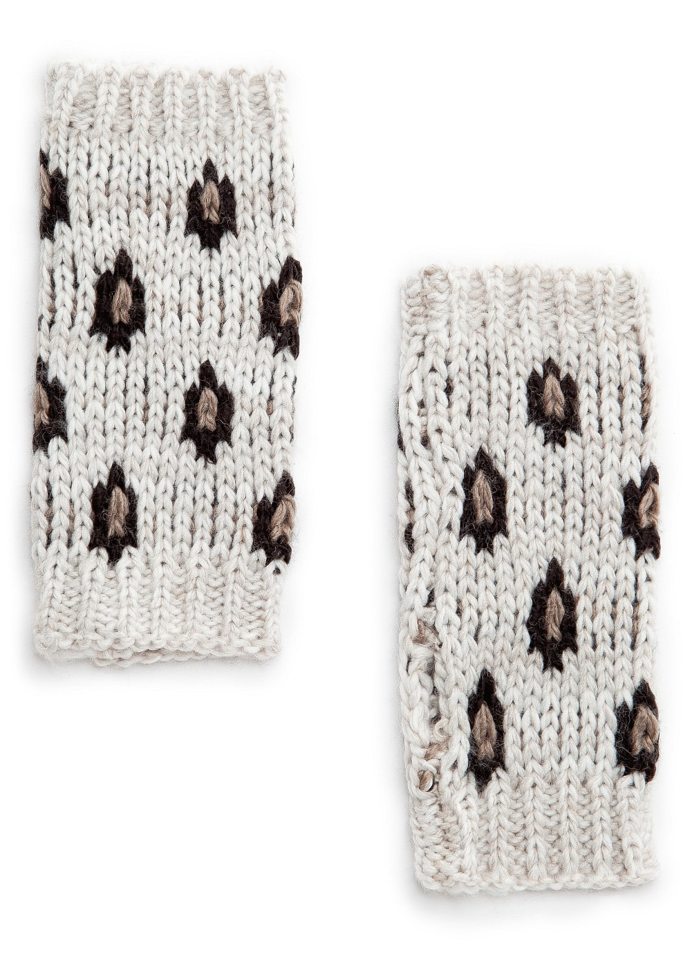 Leopard pattern fingerless gloves