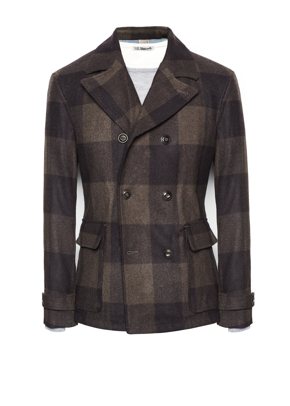 Check wool-blend peacoat | MANGO