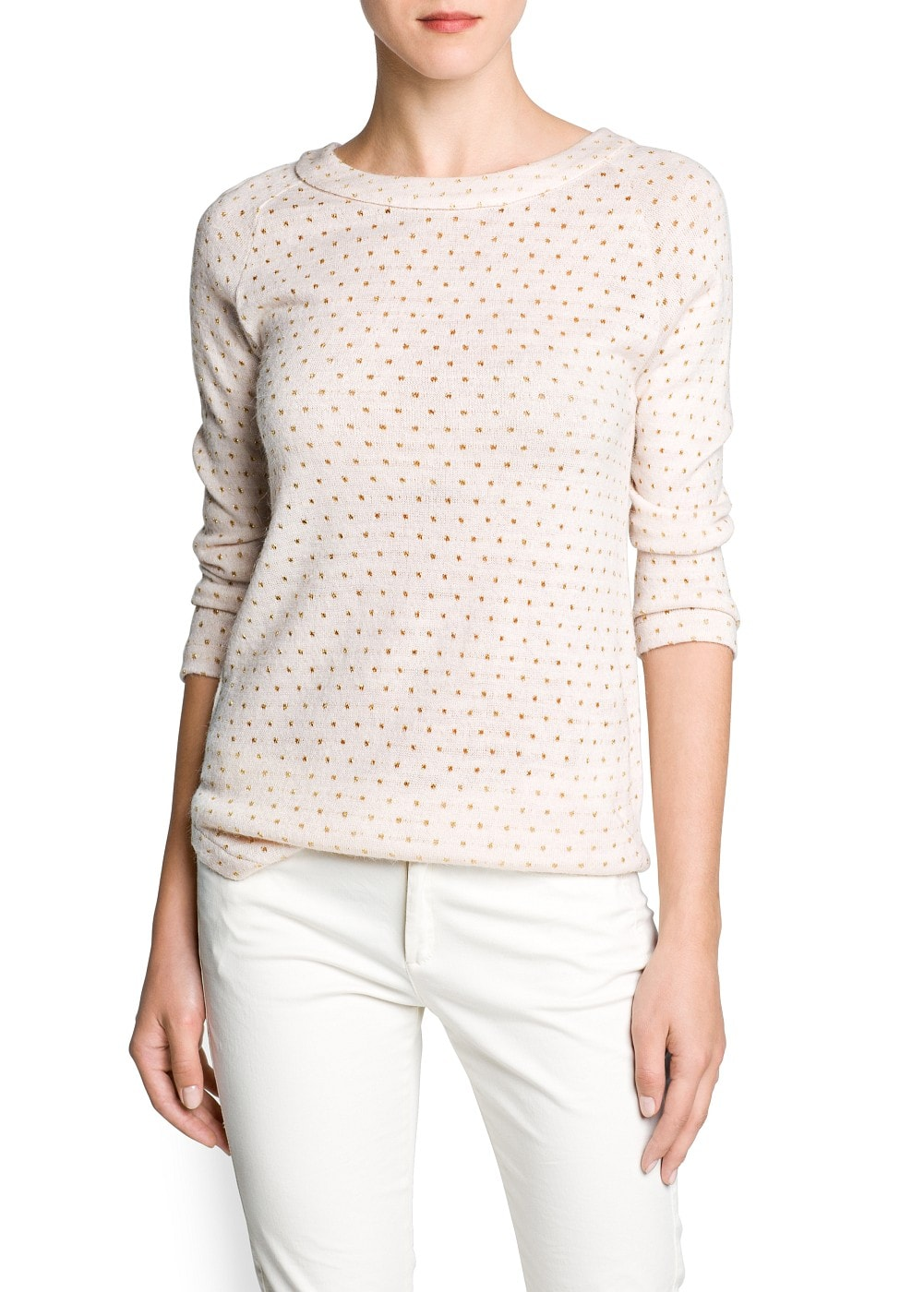 Metallic polka-dot knit t-shirt