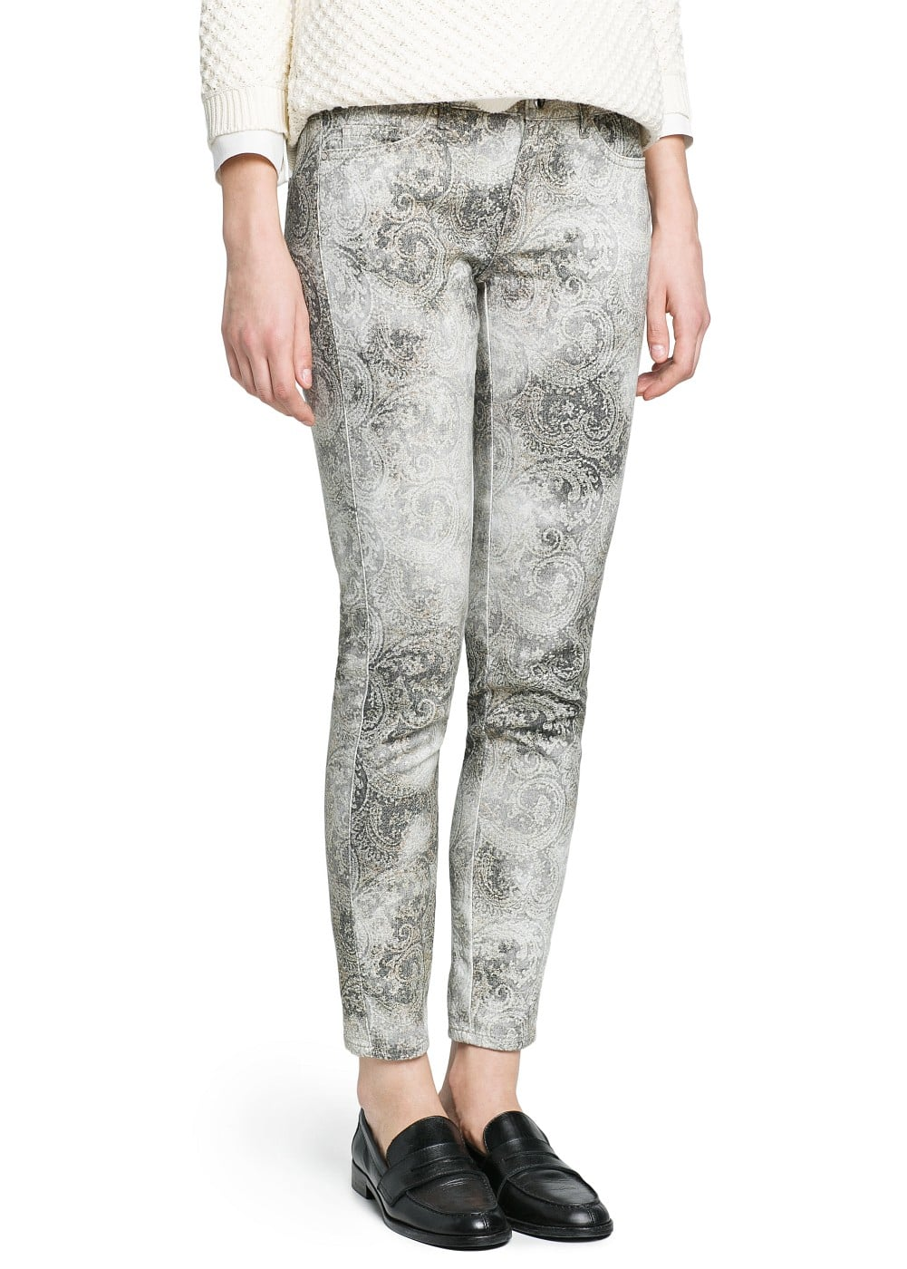 Distressed paisley print trousers