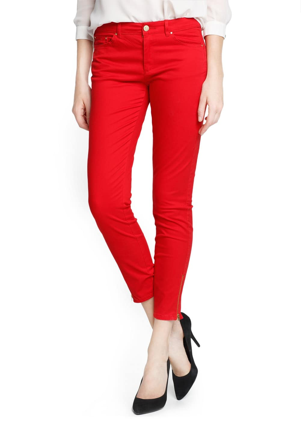 Slim-fit zipped trousers