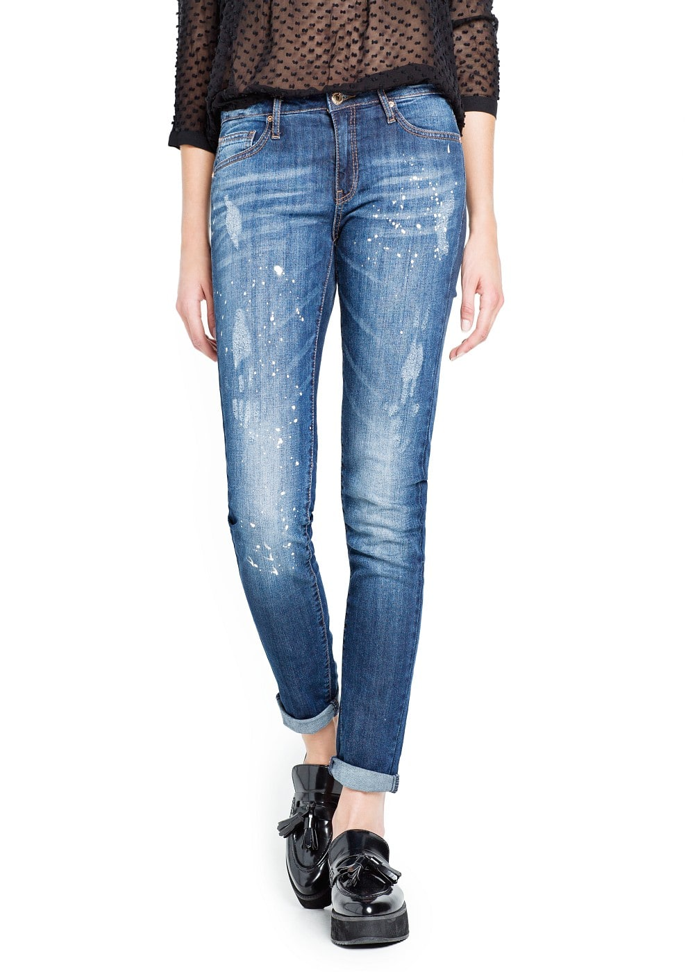 Slim-fit cropped dark wash jeans | MANGO