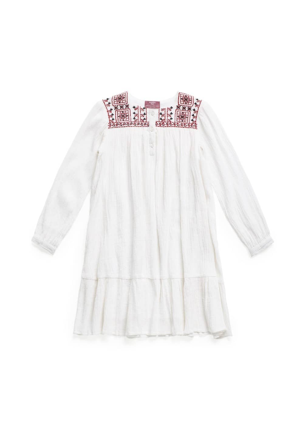 RUFFLED EMBROIDERED COTTON DRESS